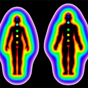 61438772 - human energy body with aura and chakras on white background