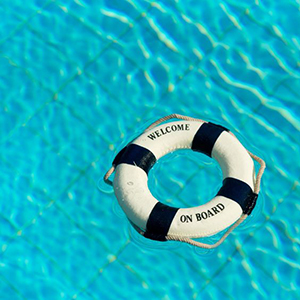 12339308 - welcome on board with life buoy in swimming pool
