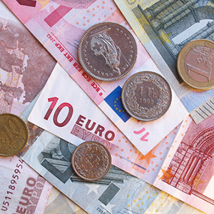 68726713 - euro (eur) banknotes and coins (with a few swiss francs coins) money useful as a background or money concept