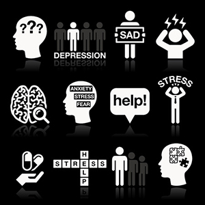 33733097 - depression, stress icons set - mental health concept