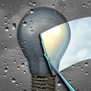 63970819 - positive thinking and eliinating negative outlook as a wiper clearing a cloudy wet window with a grey dark light bulb and a wiper cleaning it to expose a clean bright light as a solution and possibility icon as a 3d illustration.