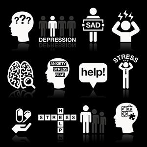 33733097 - depression, stress icons set - mental health concept