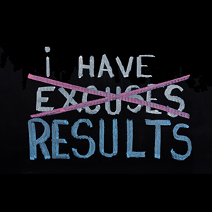 48444570 - no excuses. motivational concept written on chalkboard